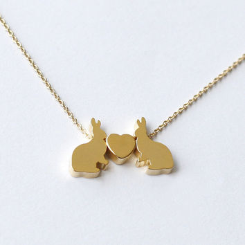 gold cute rabbit necklace, two rabbits necklace,bunny necklace,Dainty lovely Necklace, rabbit pendant, Children gift Bridesmaid lover gift