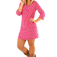 Let's Talk It Out Dress: Hot Pink/Gray