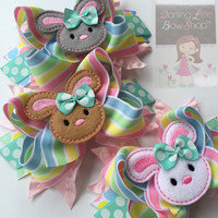 Easter Bunny Bow -- Easter Bow -- Hippity Hop -- Large bow with bunny center -- pastel yellow, white, pink and aqua