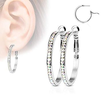 WildKlass Pair of Eternity Crystal Set Stainless Steel Hoop Earring