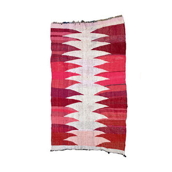 BOUCHEROUITE Kilim Rug. Mid Century Modern Art. Abstract Painting Colorful Quilt. Danish Compliment. Pink Red White.