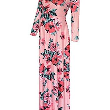 BlackCherry Womens Long Sleeve Rose Print Tank Maternity Maxi Dress