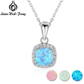 Classic Square White Pink Blue Opal Necklaces & Pendants Zirconia 925 Sterling Silver Necklace Gift For Women (Lam Hub Fong)