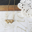 TRUE LOVE personalized hand stamped double heart initial necklace (silver or gold)