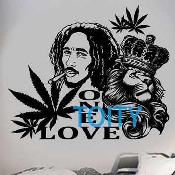Bob Marley Wall Sticker Lion Zion Vinyl Decal H 57 cm x W 68 cm