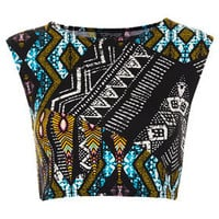 Tribal Aztec Crop Tee - Clothing -