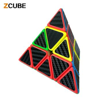 Zcube 2017 Carbon Fiber Sticker Pyraminx Speed Smooth Magic Cube Professional Triangle Pyramid Puzzle Cube Twist Toy -48