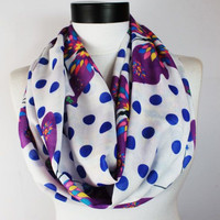 white polka infinity scarf, scarf, scarves, long scarf, loop scarf, gift