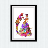 Cinderella and Prince Charming watercolor art print Disney princess poster Home decoration Kids room wall art Nursery room decor W497