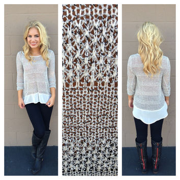 White Knit Sweater Top