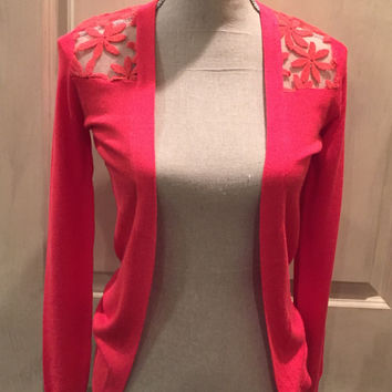 Coral Lace Back Cardigan