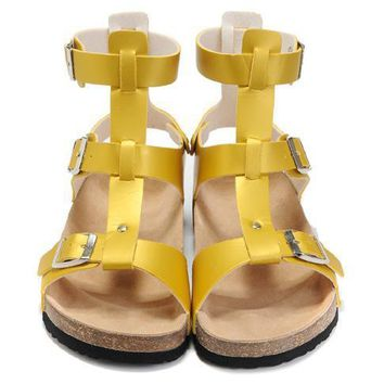 Birkenstock Leather Cork Flats Shoes Women Men Casual Sandals Shoes Soft Footbed Slippers-24