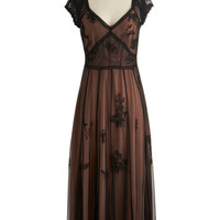 ModCloth Vintage Inspired, 30s, French Long Cap Sleeves Maxi Veritable Vixen Dress