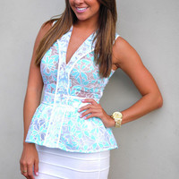 Propose To Me Top: White/Spearmint | Hope's