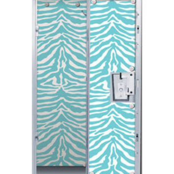Blue Zebra Print Locker Decor Wallpaper