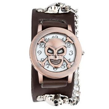 Fashion relogio masculino Black Punk Chain Skull Leather Watch Women Men Bracelet Cuff Gothic Watch