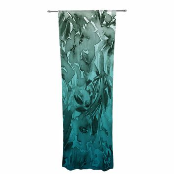 """Ebi Emporium """"Forever Flowers, Teal Ombre"""" Teal Gray Watercolor Decorative Sheer Curtain"""