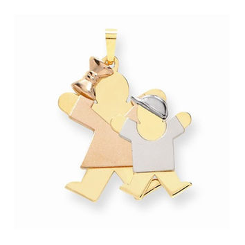 14k Tri-color Big Sister/Little Brother Joy Charm