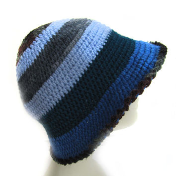 Women fashion hat hand knitted navy blue, gray,ight blue and dark green ........./ Crochet hat pattern