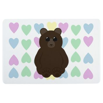 Cute Bear Drawing with Multicolored Hearts Floor Mat