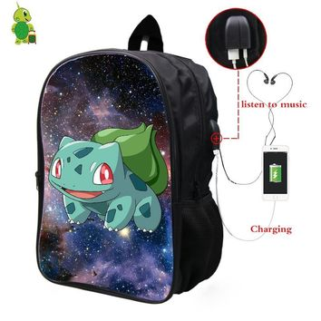 Bulbasaur Galaxy Space Backpack Multifunction USB Charge Headphone Jack School Bags for Teenager Large Laptop BackpackKawaii Pokemon go  AT_89_9