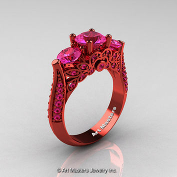 Classic 14K Red Gold Three Stone Pink Sapphire Solitaire Engagement Ring, Wedding Ring R200-14KREGPS