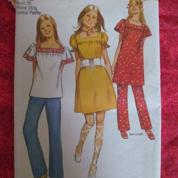 Spring Fever Sale 1970 Simplicity Sewing Pattern, 9225! Size 13 JP, Bust 35, Waist 26 1/2, Size Small to Medium Women's, Casual or Maternity