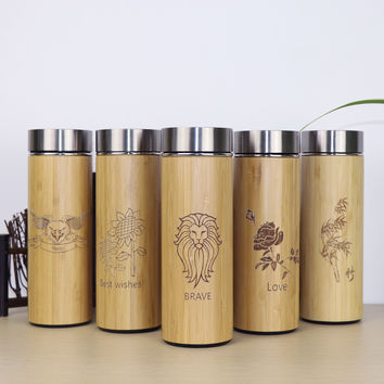 400ml Bamboo travel Thermos Cup Stainless Steel Bottles for water Vacuum Flasks mug coffee insulated keep warm tea cup thermo