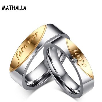 Romantic Lovers' Letters Love Forever Rings Stainless Steel With Shiny Rhinestones Rings For Engagement Promise Jewelry