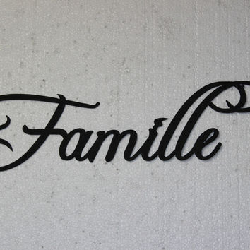 Famille Word French Word for Family Home Decor Metal Wall Art