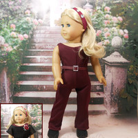 American Girl Doll Clothes Unitard and Lace Top in Wine and Black, Include headband and Belt