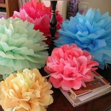 1PCS DIY 12''(30CM) Large Pompon Tissue Paper Pom Poms Kissing Balls For Home Decoration Festive Party Supplies Wedding Favors