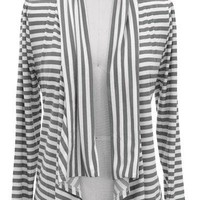Striped Open Flutter Cardigan - Grey/White | Facebook