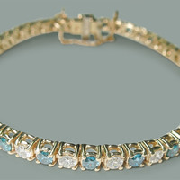 6 Carats white & blue diamonds tennis bracelet yellow gold 14K jewelry new
