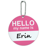 Erin Hello My Name Is Round ID Card Luggage Tag