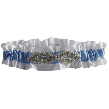 Stylish White and Blue Wedding Garter with Rhinestone Decoration