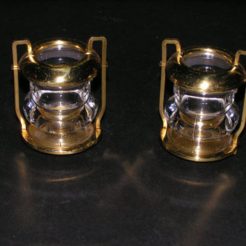 Vintage Brass & Glass Candle Holders with Nifty Handles (1 pair) - Super Kitchy with Mid-Century Flare