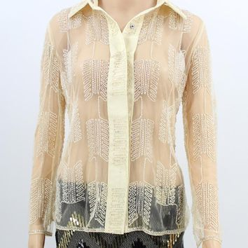 Winter Bead Embroidery Office Lady Blouse Top Long Sleeve Turn down Collar Geometric Sheer Lace Shirt Vintage Women