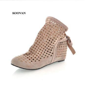 Koovan Women Sandals 2017 Autumn New Women's Motorcycle Boots Increased Hollow Hole Women Shoes Boots Larger Size 34-43