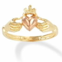 14k Irish Claddagh Friendship Ring with Pink Gold Heart only $279.00 - Gold Rings