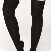 Sole Mate Over The Knee Socks - Black