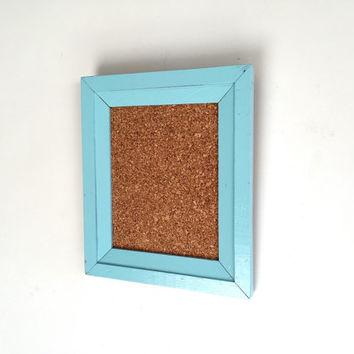 Vintage Framed Corkboard - Blue, Rustic, Vintage, Message, Office, Kitchen, 11 x 13, Beach, Decor