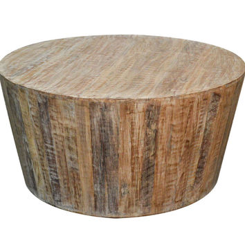 Distressed White Reclaimed Round Tapered Sides Coffee Table