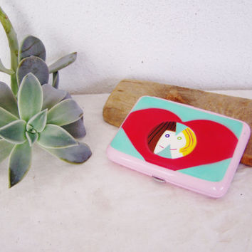 Vintage cigarette case, metal, enameled cigarette case with pop art images, colourful cigarette case or card holder, late eighties