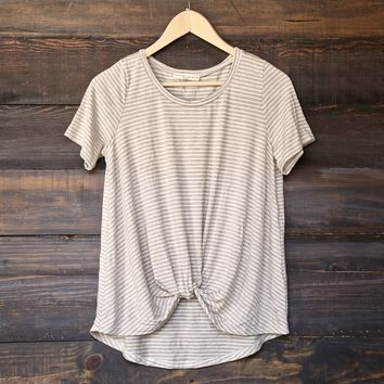 BSIC - striped front knot slouchy tee - oatmeal