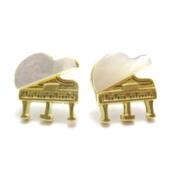 Musical Instrument Themed Grand Piano Shaped Stud Earrings in Gold