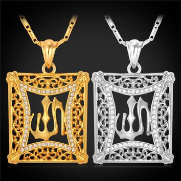 New Islamic Allah Pendant Charms Gold Color Rhinestone Choker Necklace Religious Muslim Jewelry For Men / Women MGC P210