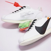 """Virgil Abloh x Nike Classic Cortez Leather Retro Running Shoes """"OW""""AA3834-101"""