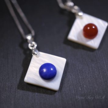 Tiny Lapis Lazuli Necklace, Delicate Red Carnelian Necklace, Sterling Silver Box Chain Geometric White Shell Jewelry, Zen Yoga Necklace