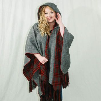 Blanket Shawl with Hood. Black & White Pattern with Red Plaid on Reversible Inside.